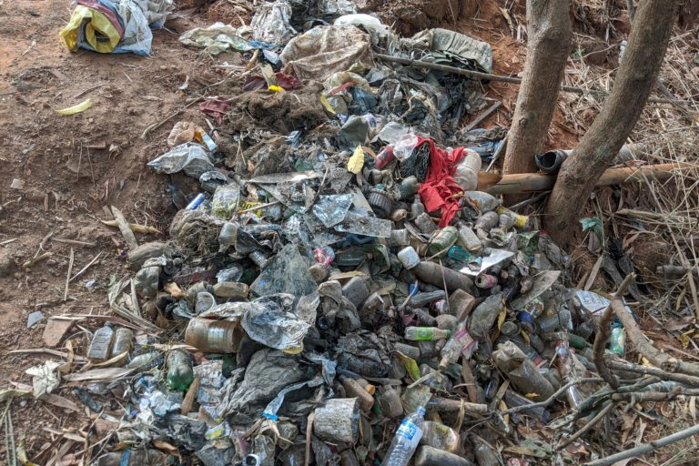 Waste that emerged from the pond after cleanup. Photo courtesy Sharada Kerkar.