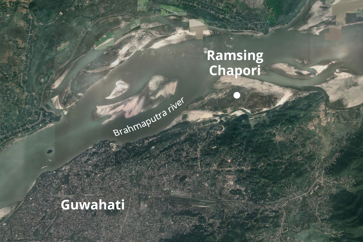Ramsing Chapori is one of the numerous river islands on Assam's Brahmaputra river. Map from Google Earth.