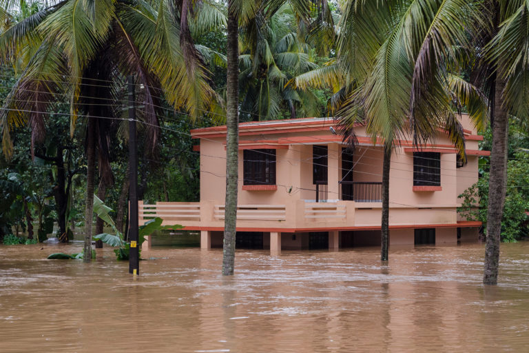 A home that flooded in Kerala in 2018. Photo by Dilshad Roshan/Wikimedia Commons.