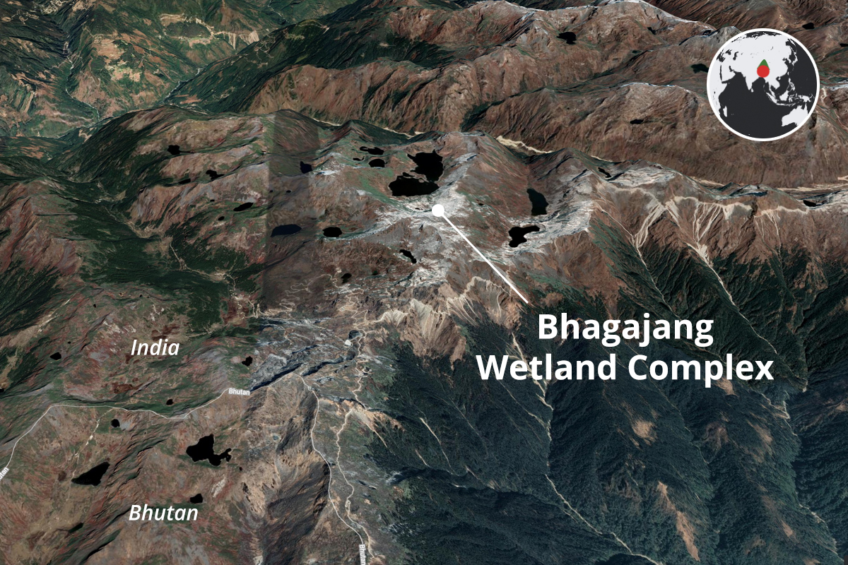 At an elevation of above 4,000 metres in Tawang district of Arunachal Pradesh lies the Bhagajang Wetland Complex that has around 20 high-altitude lakes. Map from Google Earth.