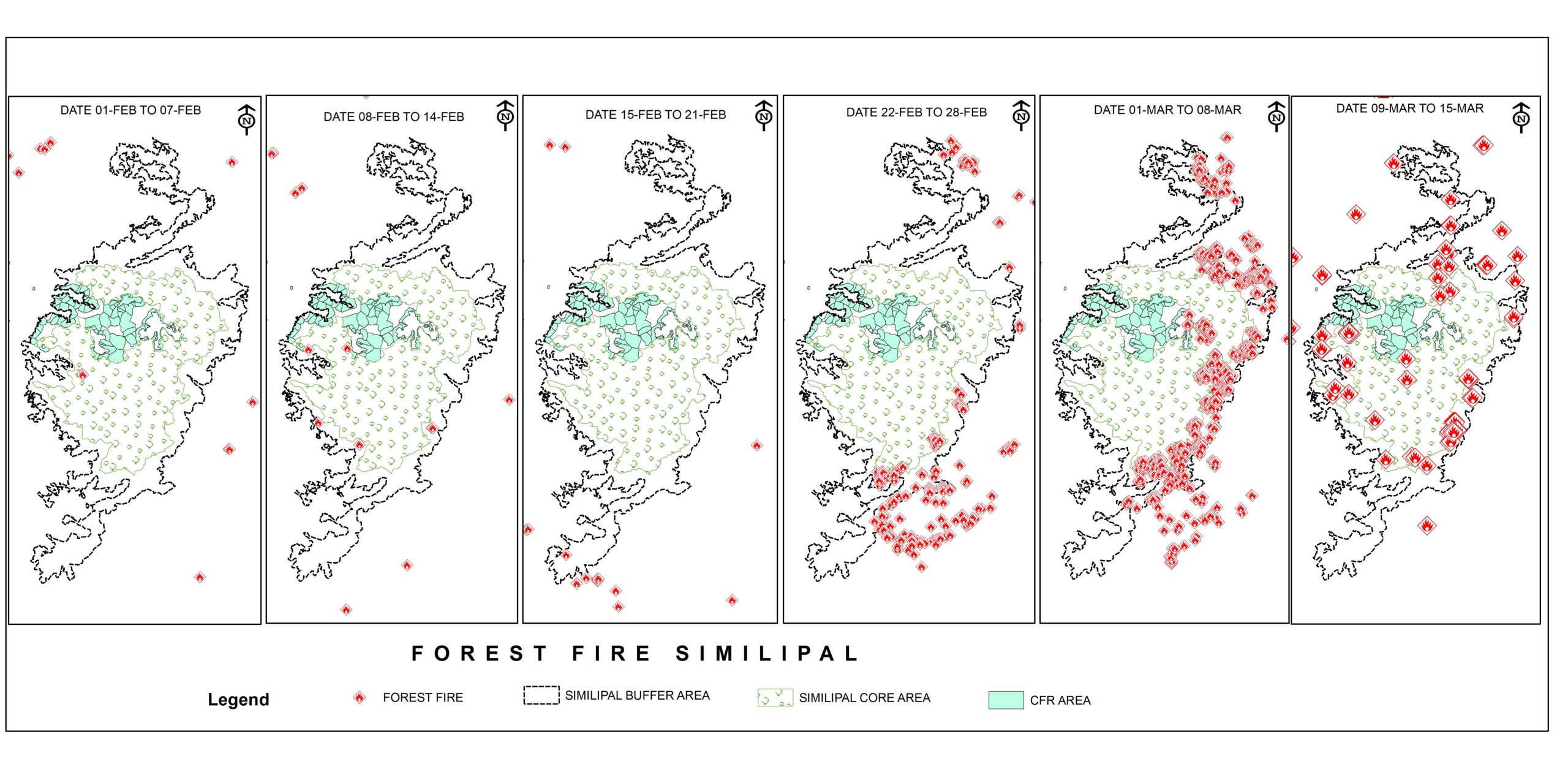 A time series map of wildfire in Similipal Biosphere Reserve showing the community managed forests (CFR areas) are the least impacted by the inferno. Image courtesy FSI; Map analysis by Swapneswar Dehury.