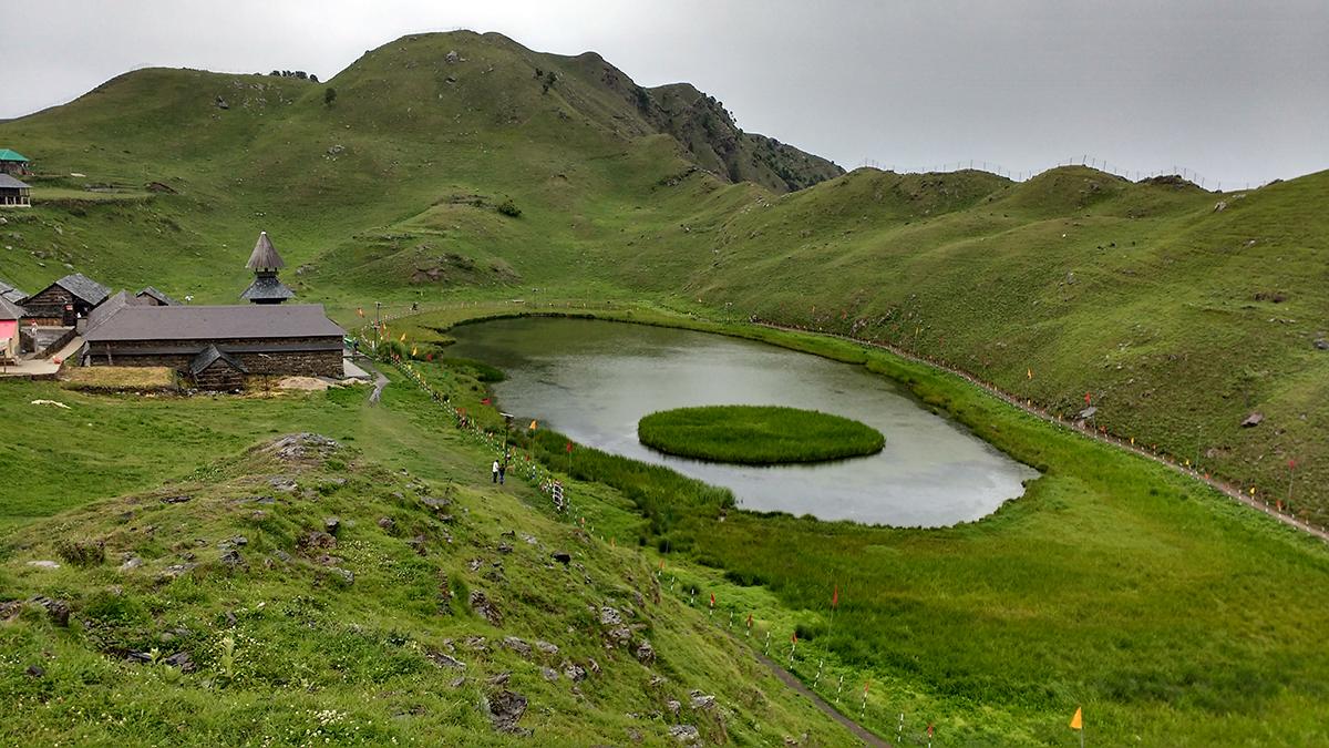 Prashar Rishi Lake in Himachal Pradesh is a popular tourist destination. Photo by Puneee/ Wikimedia Commons.