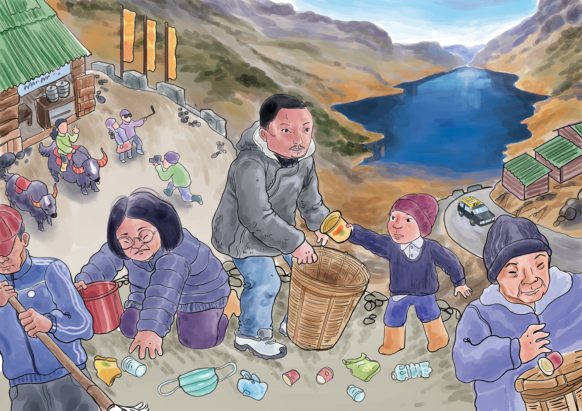 Sangay Lama Sherpa, the Office Secretary of the Tsomgo Lake Conservation Committee, and the local community protect the high-altitude wetland and keep it litter-free. Their effort not only keeps the tourist destination clean but also protects the region's water source. Illustration by Pankaj Saikia for Mongabay.