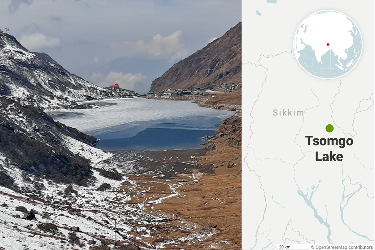 Tsomgo Lake or Changu lake is one of the most popular tourist destinations of Sikkim. The glacial lake is situated at an altitude of 12,406 feet. Photo by Sangay Lama Sherpa, map from Datawrapper.