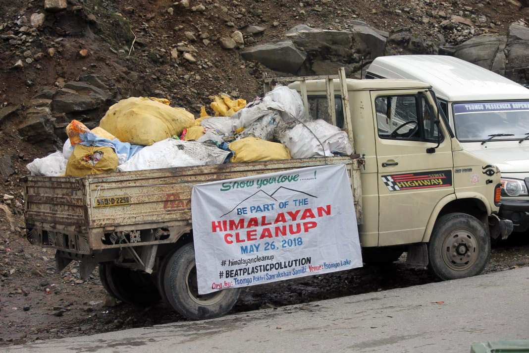 A truck with garbage collected from Tsomgo Lake. Photo from TPSS.