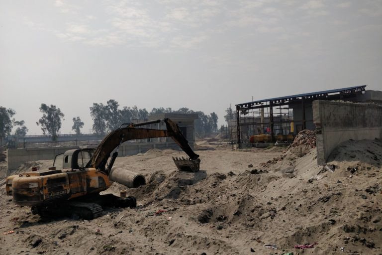 Under construction Common Effluent Treatment Plant of Ludhiana's dyeing industry cluster at Tajpur area that will take atleast one more year to finish. Photo by Vivek Gupta.