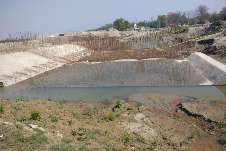 Embankment work is going on Bagmati river near Belwa. Photo- WRD Bihar/Facebook