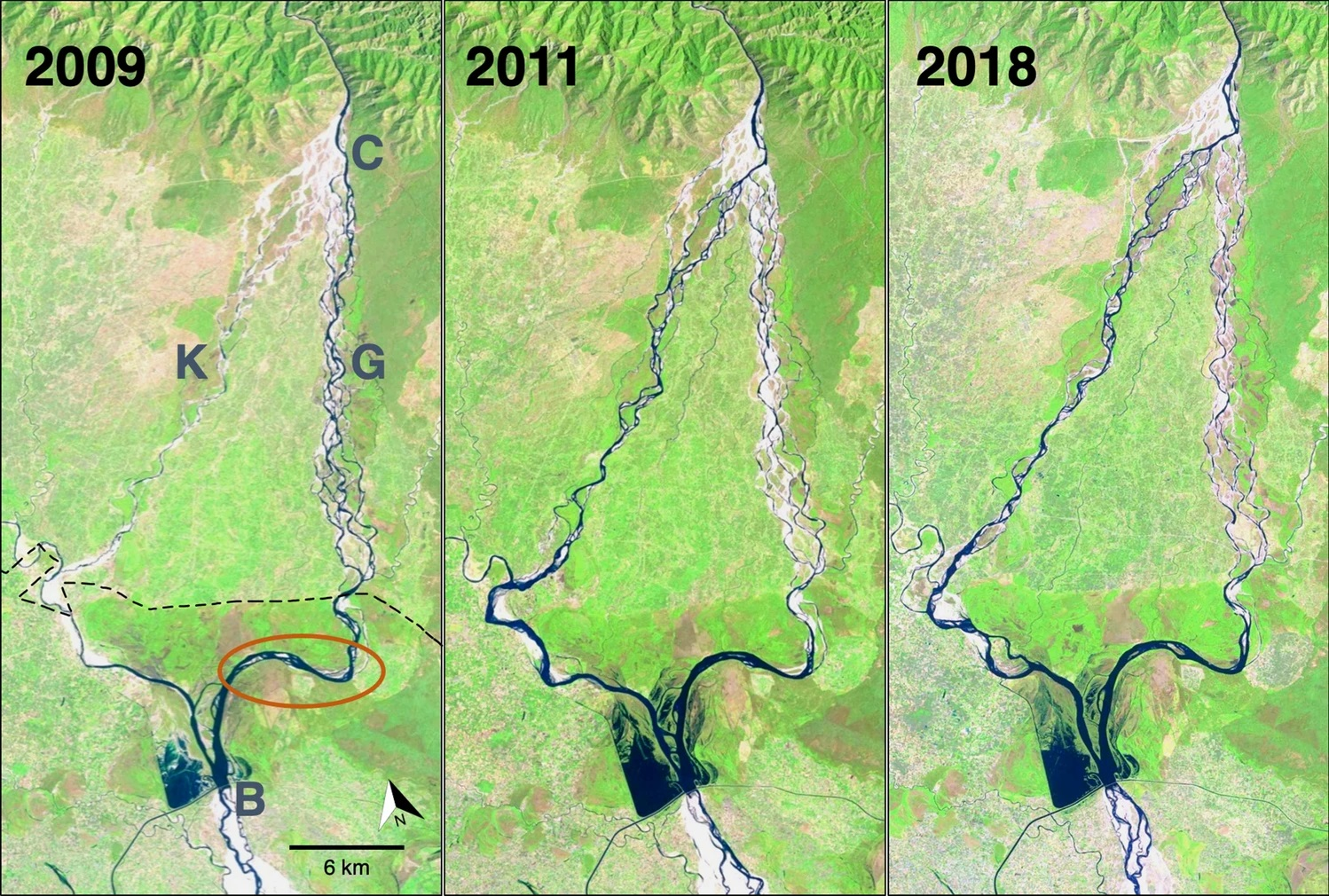 Satellite images before (2009; left panel) and after (2011 and 2018; middle and right panels) a flood event in 2010 in Karnali river channels, Nepal. The flood resulted in a mainstream channel shift from east (right side,=G, Geruwa channel in Nepal) to west (left side,=K, Karnali channel in Nepal). Map from Vashistha et al. 2021.