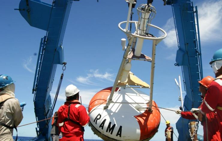 Buoys part of the Research Moored Array for African-Asian-Australian Monsoon Analysis and Prediction (RAMA) are designed to study the Indian Ocean's role in the monsoons. Photo by NOAA.