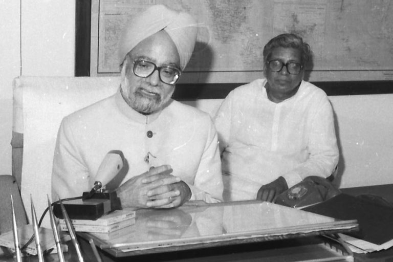 The Union Minister for Finance, Manmohan Singh, giving a TV interview after presenting the Union Budget for the year 1991-92 to the Parliament, in New Delhi on July 24, 1991. The government launched economic reforms with liberalisation, privatisation and globalisation as the guiding principles. Photo from Press Information Bureau, Government of India.