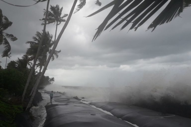 Large waves propelled by Cyclone Tauktae dash the geotube seawalls in the coastal village Chellanam near Kochi in Kerala. Photo by K A Shaji.