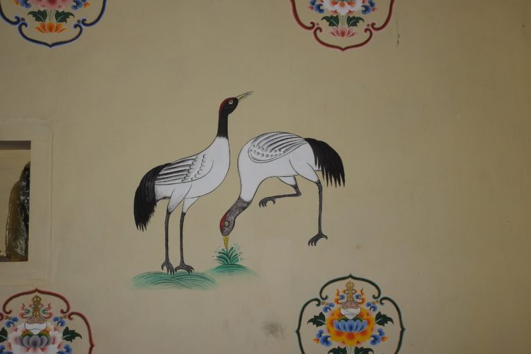 Painting of the black-necked crane in Phobjika Valley, Bhutan. Photo by Dr. Raju Kasambe/Wikimedia Commons.