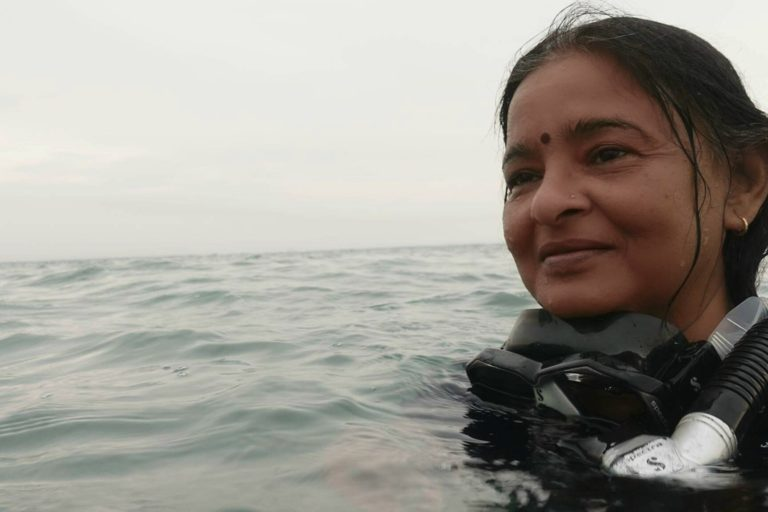 Uma Mani, Chennai-based homemaker who learned diving at 49. Through her paintings, she has been trying to draw public attention to the devastating effects of climate change on marine life