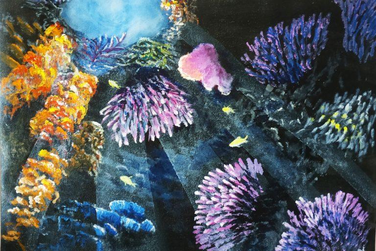 Painting of corals growing in between rocks underwater at Trincomalee, Sri Lanka.