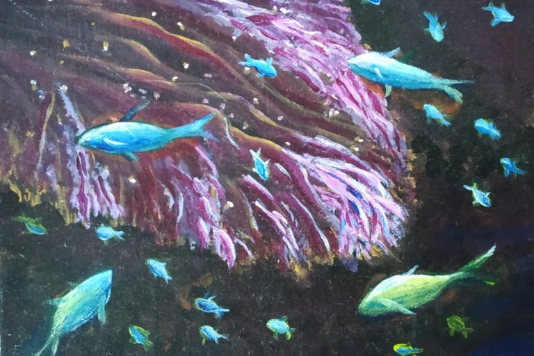 An imagination of coral reef at night.