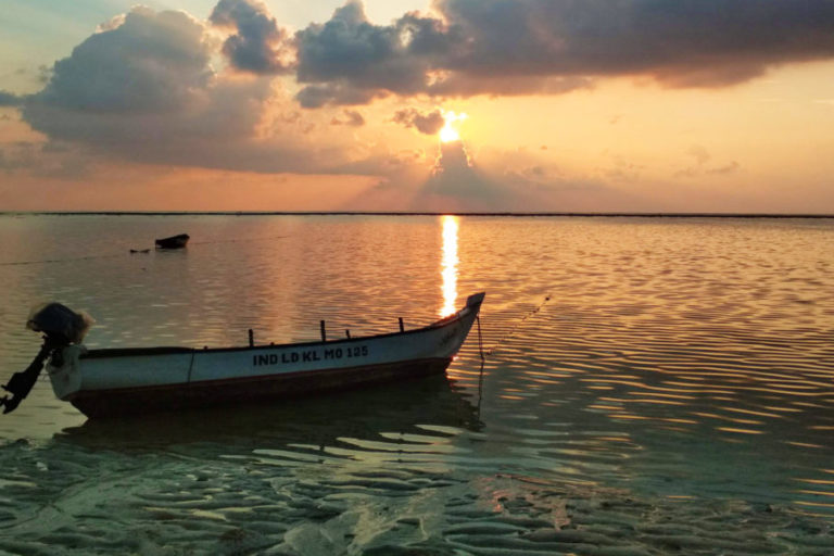 A view of the lagoon from Kiltan Island in Lakshadweep. The coral boundary can be seen on the horizon due to low tide. Photo by Aysha Jennath.