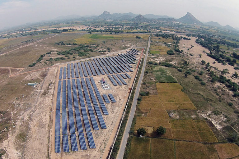 Aerial view of Halo Energie's solar photovoltaic plant in Andhra Pradesh, India.