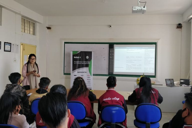 Sowete-ü K. Letro conducting a workshop on e-waste management with the eco-club members of Sazolie College in Kohia, Nagaland. Photo by e-Circle.