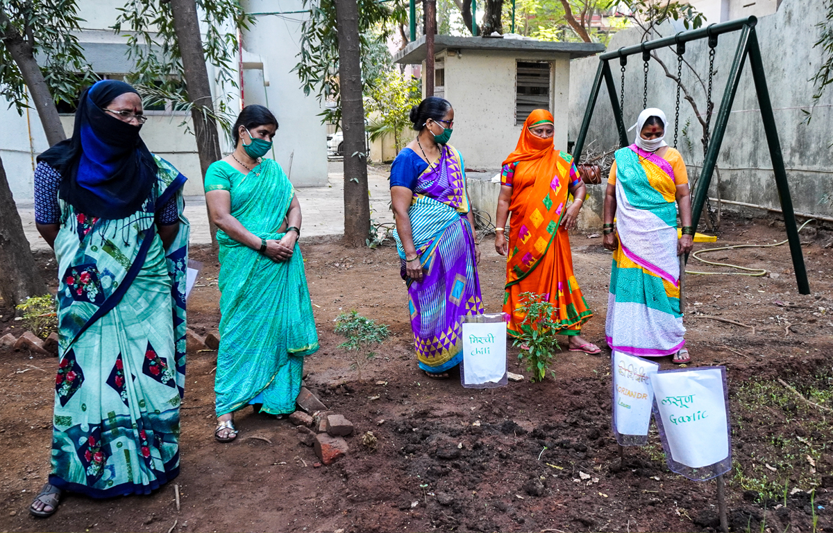 Women waste-managers of Mumbai, who go by the name 'Parisar Bhaginis', are training to grow vegetables and flowers in housing societies in the eastern suburbs of Mumbai.During the second wave of COVID19 in the country, 30 women employed in the sanitation sector in Mumbai started growing microgreens in their own homes too with the help of trainers. These women manage the city's waste at a mere salary of about 6,500 rupees per month. Photo by Prateek Pamecha.