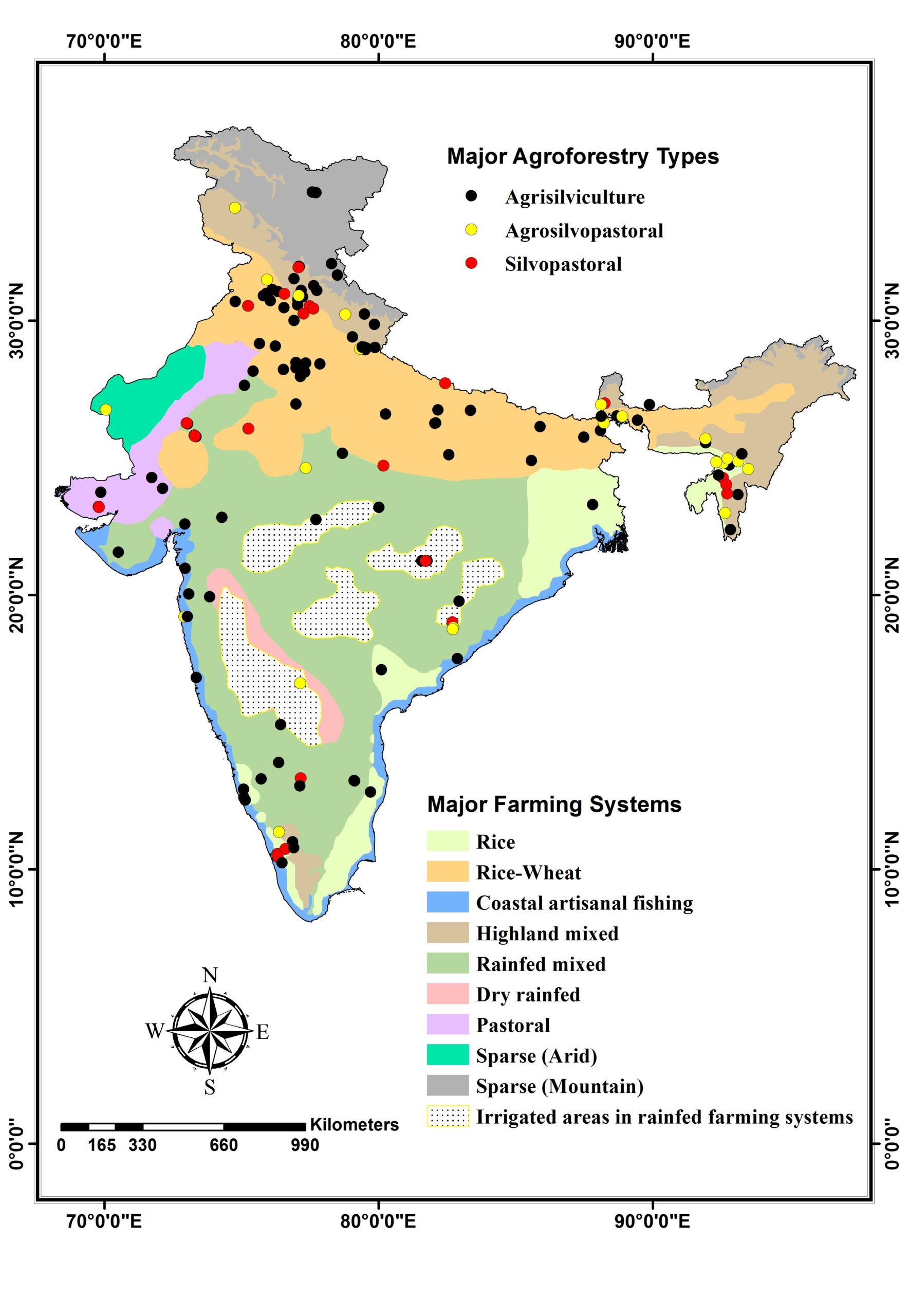 Map showing the major agroforestry types and farming systems of India. Map courtesy of Arun Jyoti Nath, modified version of Nath et al. 2020