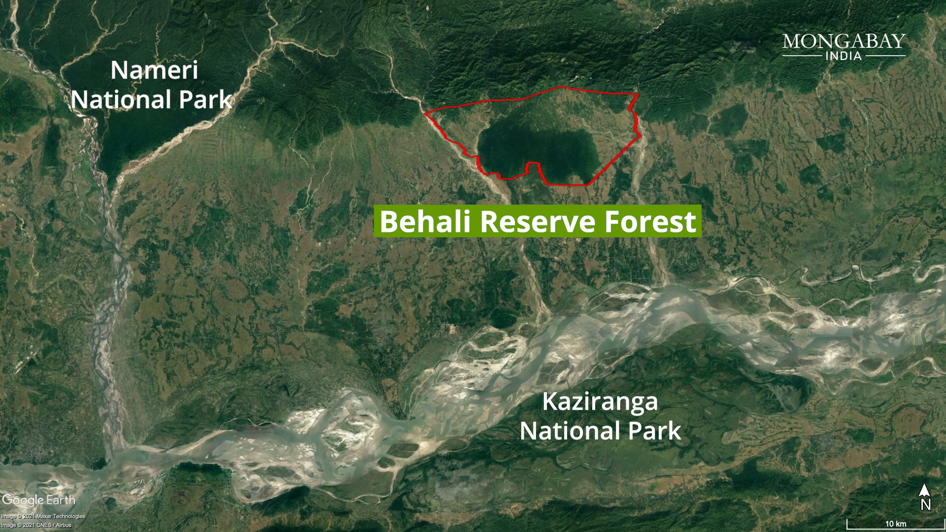 The Behali Reserve Forest on the Assam-Arunachal border shelters several species of flora and fauna and also acts as a passage for wildlife movement between protected areas. Base map from Google Earth, forest boundary from Sonitpur East Forest Division, Government of Assam.