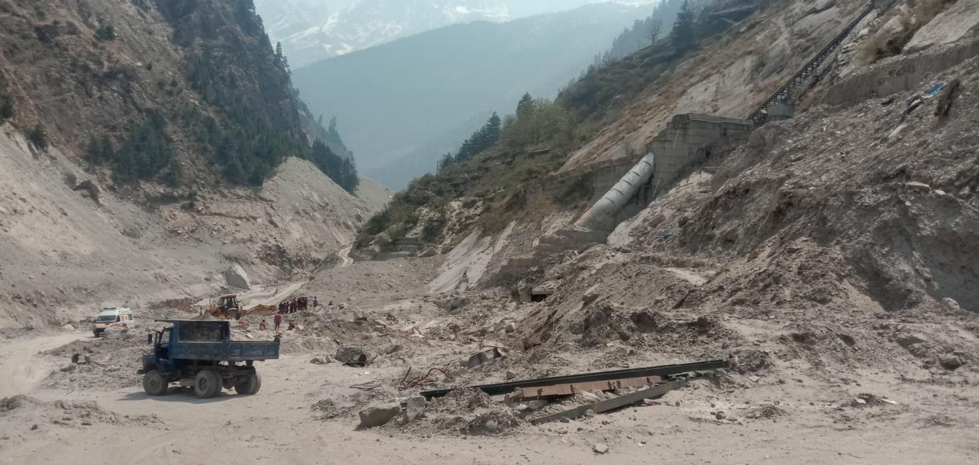 The powerhouse of the Rishiganga hydropower project after the glacier burst in February 2021. Photo by Jeet Singh.