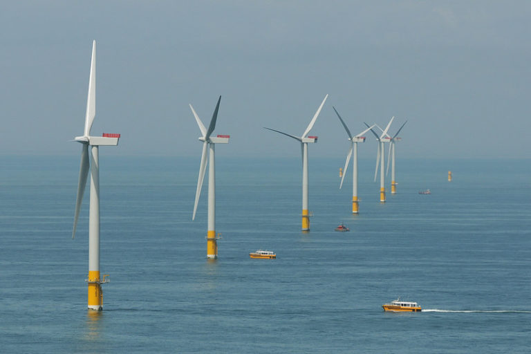 A representational image of an off-shore wind farm. India is also trying to develop offshore wind power. Photo by chpv.co.uk/SSE/RWE/Flickr.