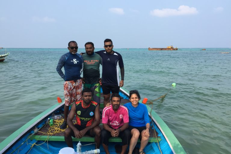 The dive team at Lakshadweep. Acoustic recorders were deployed by divers on the reef flats near the underwater slope. Photo by Rohit Rathish.