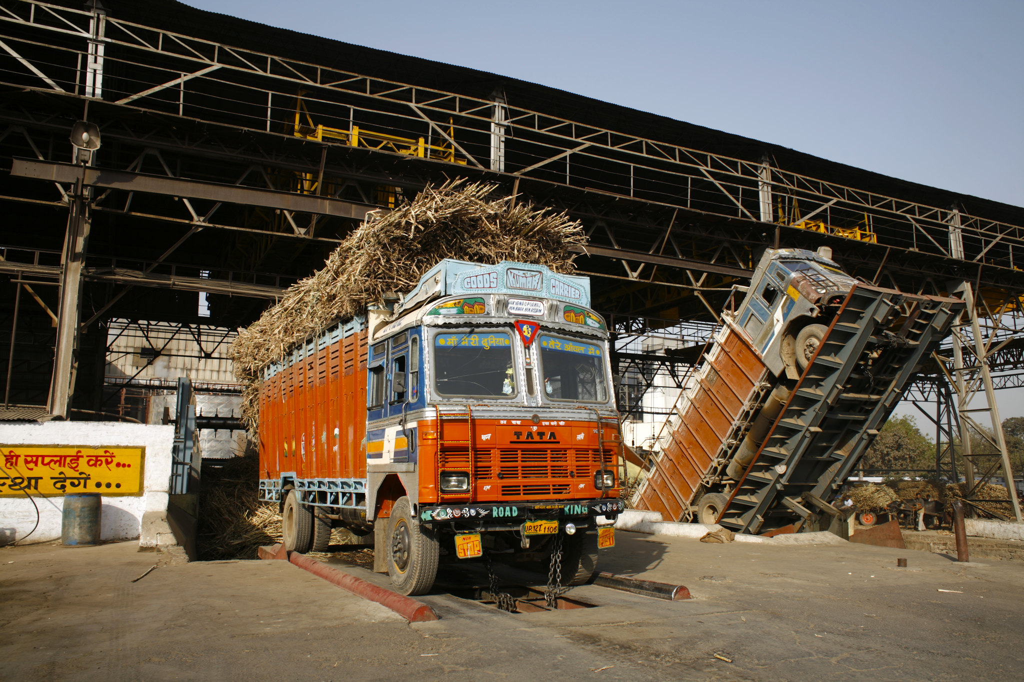A sugar mill in Uttar Pradesh generating renewable energy from the waste bagasse left over from sugar processing. Photo by Land Rover Our Planet/Flickr.