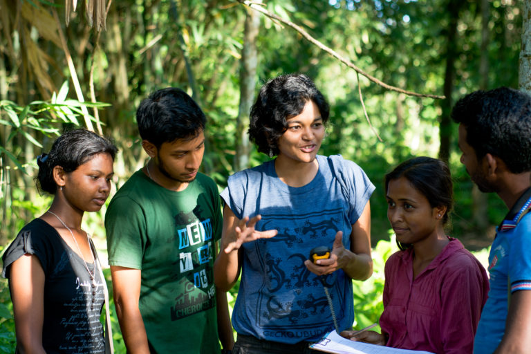 Divya Vasudev, a co-author on the paper, training the team on data collection protocols prior to the initiation of the surveys in the Kaziranga landscape. Photo by Varun Goswami.