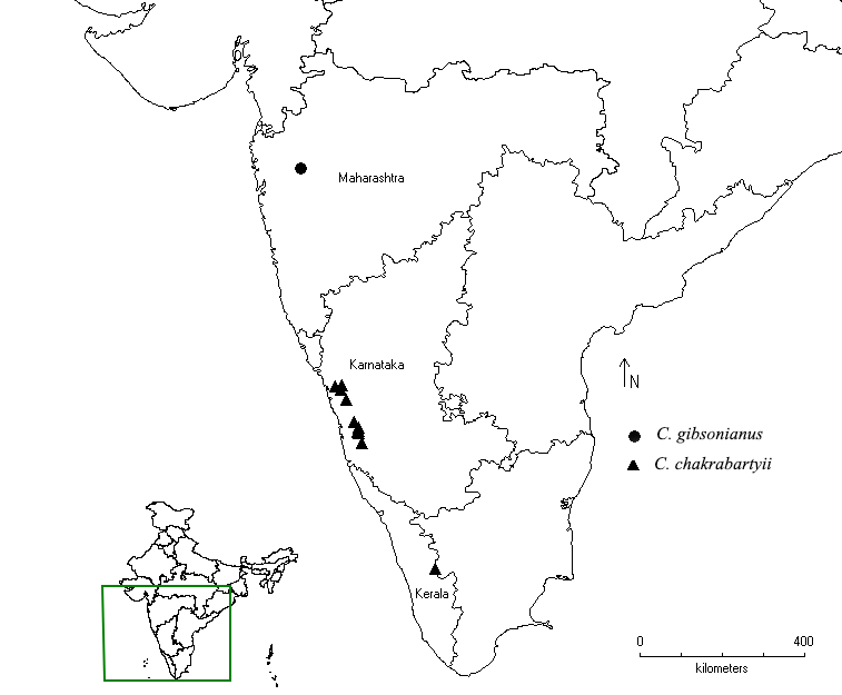 Map depicting the areas where Croton chakrabartyi and Croton gibsonianus occur. Photo by Maniruddin Dhabak.