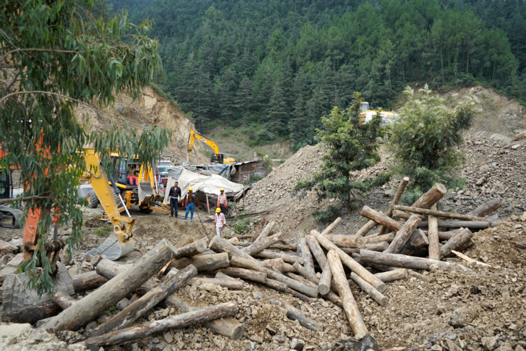 Ongoing construction for a four-way project on Shimla Solan highway. Photo by Kapil Kajal.