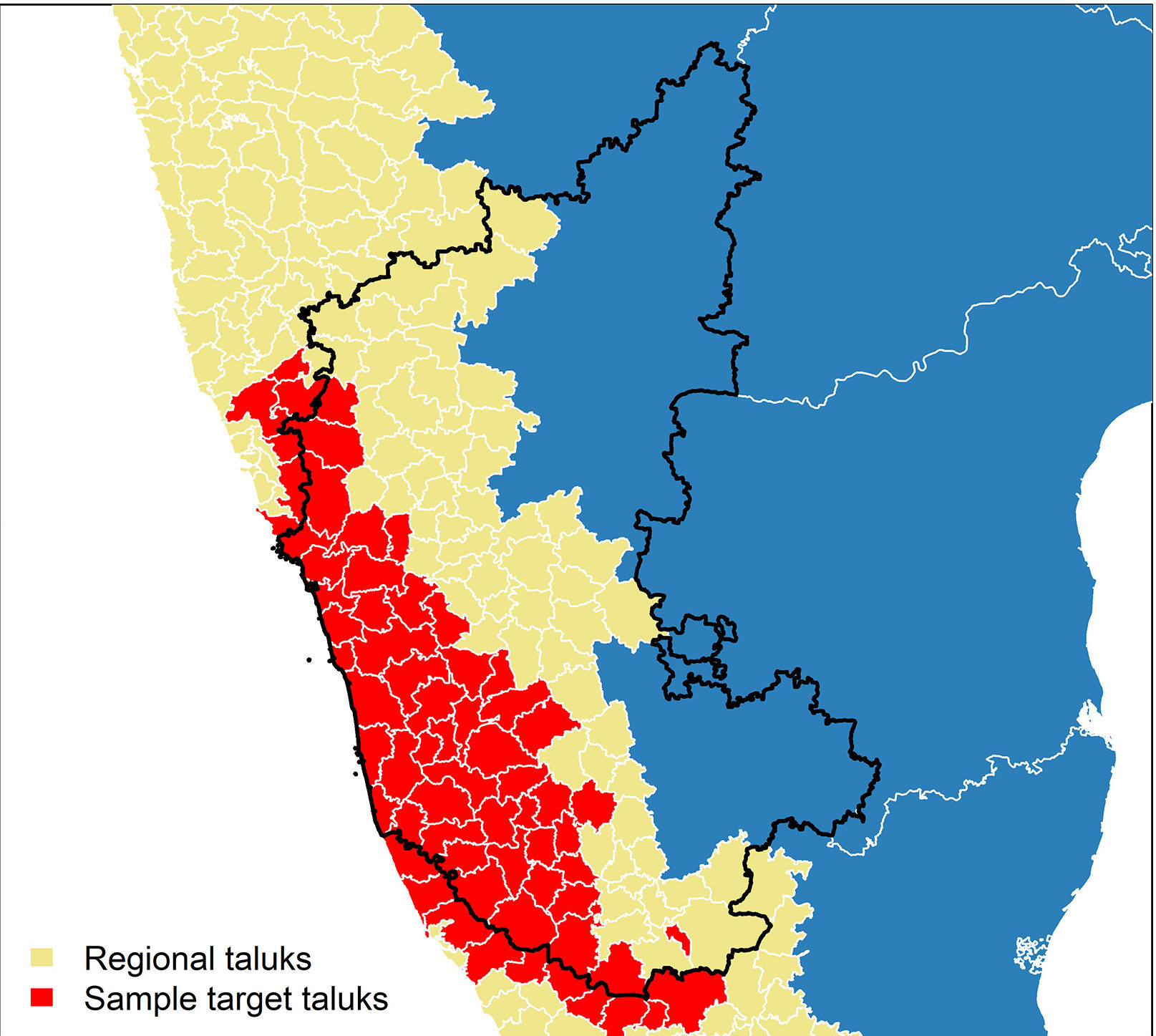 Taluks identified as priority targets (red) for implementing animal-human surveillance in Karnataka state. Once the taluks are selected, One Health surveillance infrastructure can be developed by working in concert with the forest department, animal husbandry and veterinary services and with primary healthcare centres. Map by Walsh et. al.