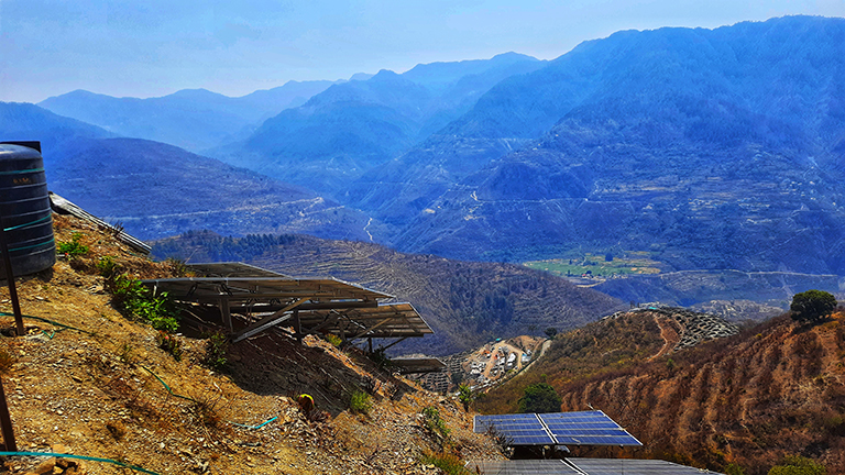 Solar panels in Uttarakhand. State government has launched a solar self-employment scheme to distribute small solar plants upto 25 kilowatt (kW) to 10,000 individuals by the end of March 2022.. Photo by Varsha Singh