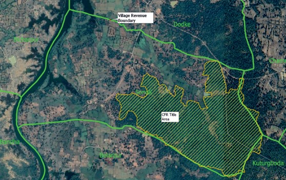 The hatched region represents the forest area within the village border where CFR rights have been recognised.