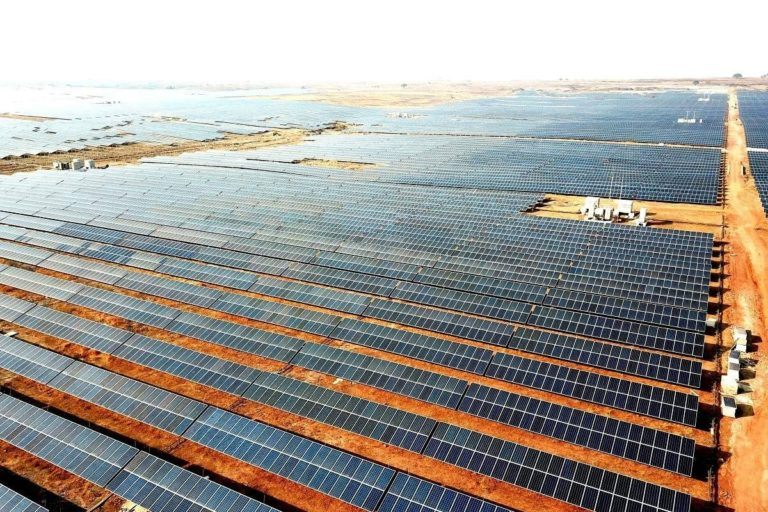 A 750-MW Rewa Solar Project, claimed to be one of the largest single-site solar projects in India. More than half of Delhi Metro now runs on solar power coming all the way from Rewa in Madhya Pradesh., according to MP government claims. photo courtesy- Madhya Pradesh Urja Vikas Nigam Limited