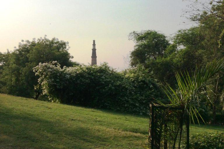 महरौली पुरातत्व पार्क से कुतुब मिनार का एक दृष्य। फोटो- दीपन्विता गीता नियोगी।