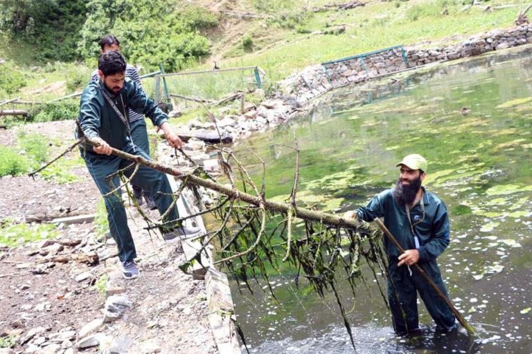 कश्मीर के बेरीनाग में चल रहा सफाई अभियान। फोटो- बेरीनाग इको वाच