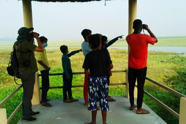 प्रशासन ने हैदरपुर तालाब के पास वाच टावर बनाए हैं, जहां से पक्षियों को निहारा जा सरकता है। तस्वीर-