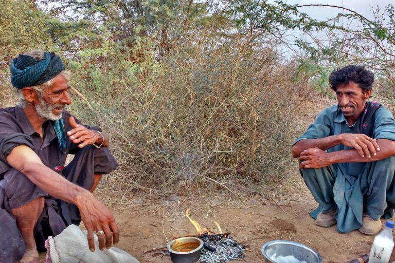 उस्मान और उमर जाट ऊंट चराने निकले हैं। उन्होंने बीच में आराम करने के लिए लकड़ी जलाकर ऊंट के दूध से चाय बनाई। तस्वीर- अजेरा परवीन रहमान