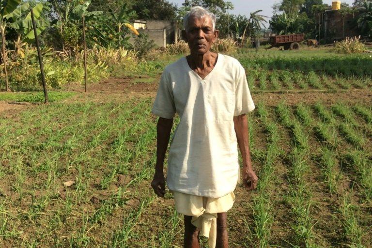 कलदवार गांव के गंडोरी महतो अपने खेत में। तस्वीर- दीपांविता गीता नियोगी।