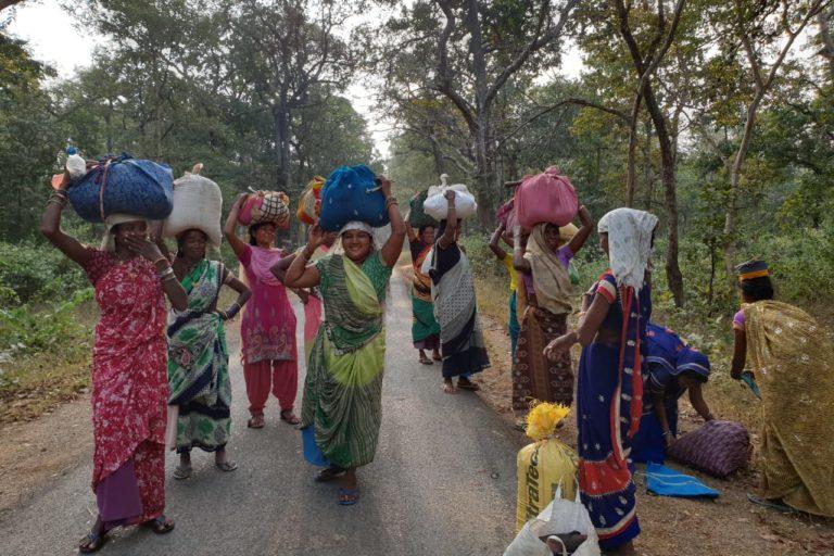 जंगल से वनोपज इकट्ठा कर हाट में बेचने ले जाती छत्तीसगढ़ की आदिवासी महिलाएं। वन संपदा पर आदिवासियों के अधिकार सुरक्षित रखने में पेसा कानून के तहत ग्राम सभा को शक्तियां प्रदान की गई हैं। तस्वीर- डीपीआर छत्तीसगढ़