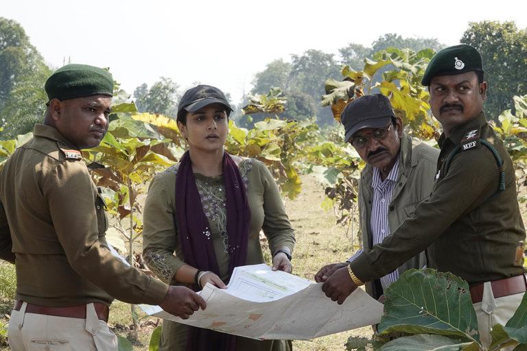 फिल्म शेरनी के एक दृष्य में जंगल का मुआयना करती अभिनेत्री विद्या बालन। तस्वीर साभार- शेरनी फिल्म