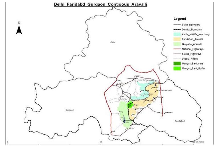 दिल्ली, फरीदाबाद और गुरुग्राम तक फैले अरावली पहाड़ के इस हिस्से में अध्ययन किया गया। मानचित्र- सुनिल हर्सना