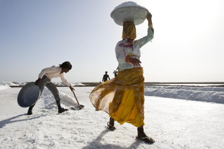 पाटा से तैयार नमक को ढ़ोतीं एक अगरिया महिला। तस्वीर- ध्वनित पांड्या/एएचआरएम